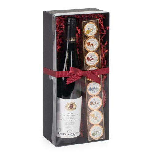 Präsentbox mit trockenem Weißwein und Chocolate for Wine Dublonen