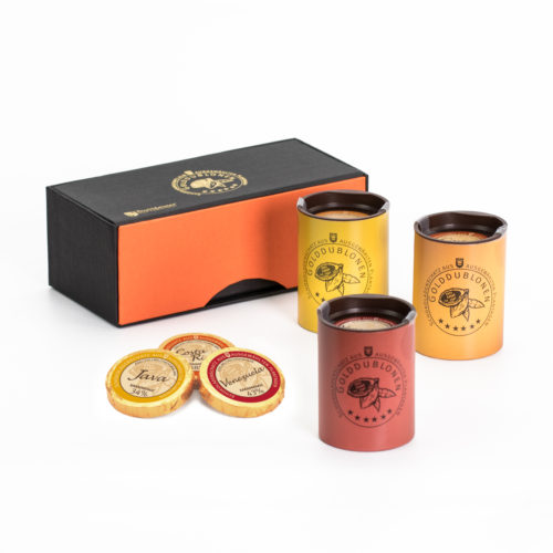 0211 Magnetpackung Elegance mit Golddublonen, Vollmilch