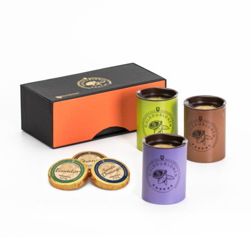 0212 Magnetpackung Elegance mit Golddublonen, Zartbitter