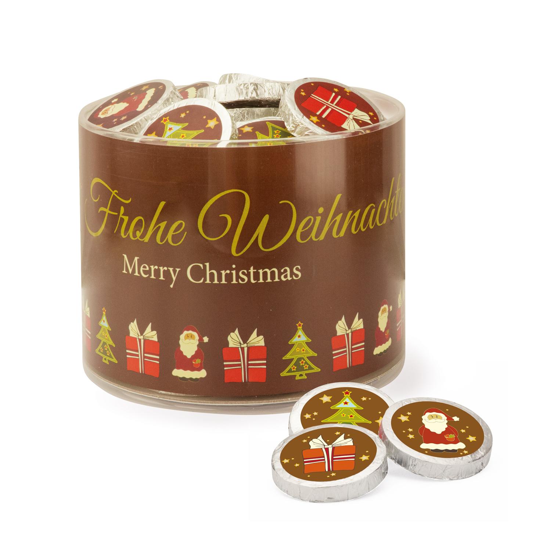 2997 Klarsichtdose mit 60 braunen Weihnachtstalern