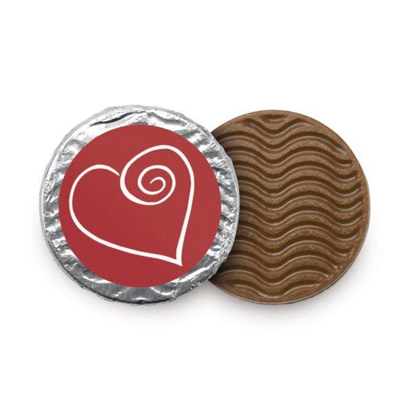 Herztaler aus feinster Vollmilchschokolade