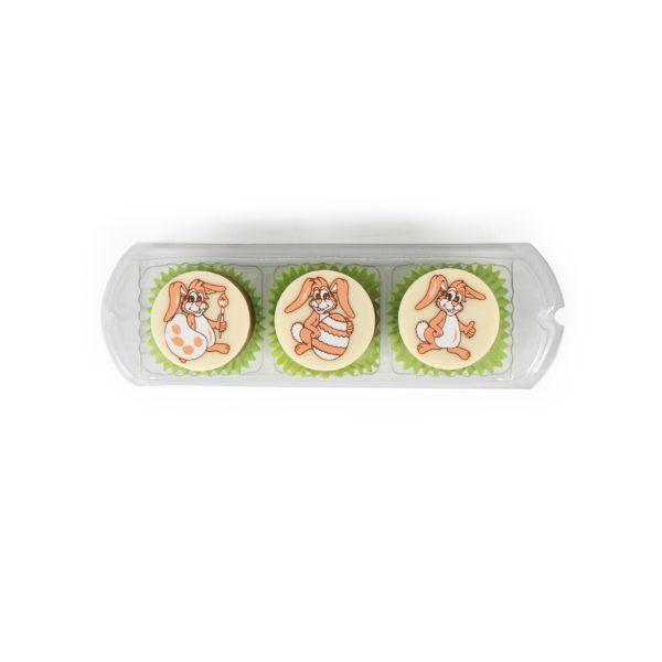 3 süße OSterhasen-Nougat-Pralinen