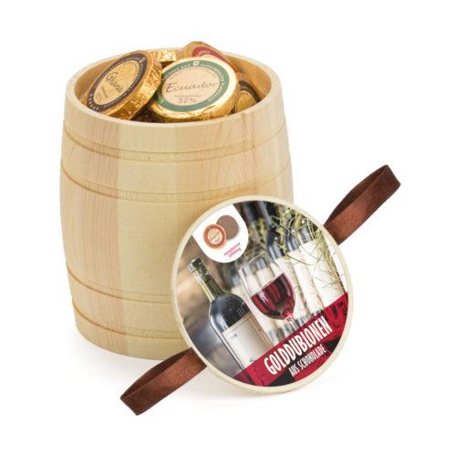 Mini Weinfass aus Holz befüllt mit 24 Golddublonen