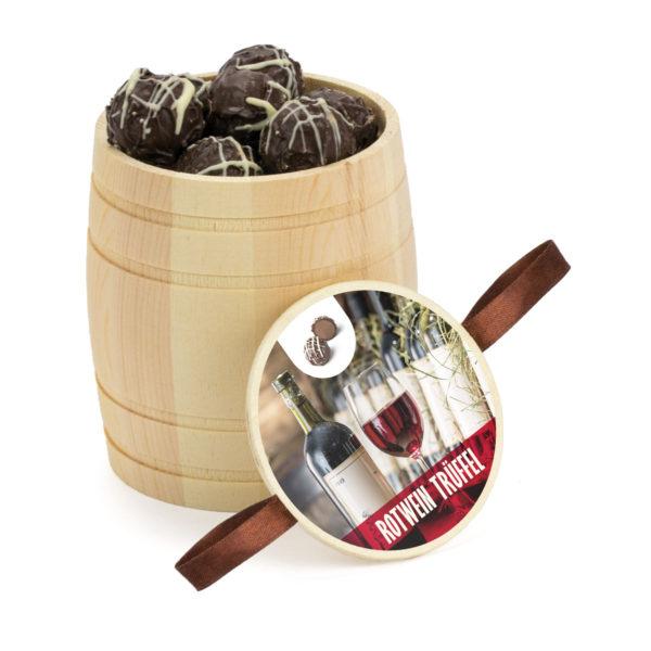 Mini Weinfass aus Holz befüllt mit köstlichen Rotwein Trüffeln