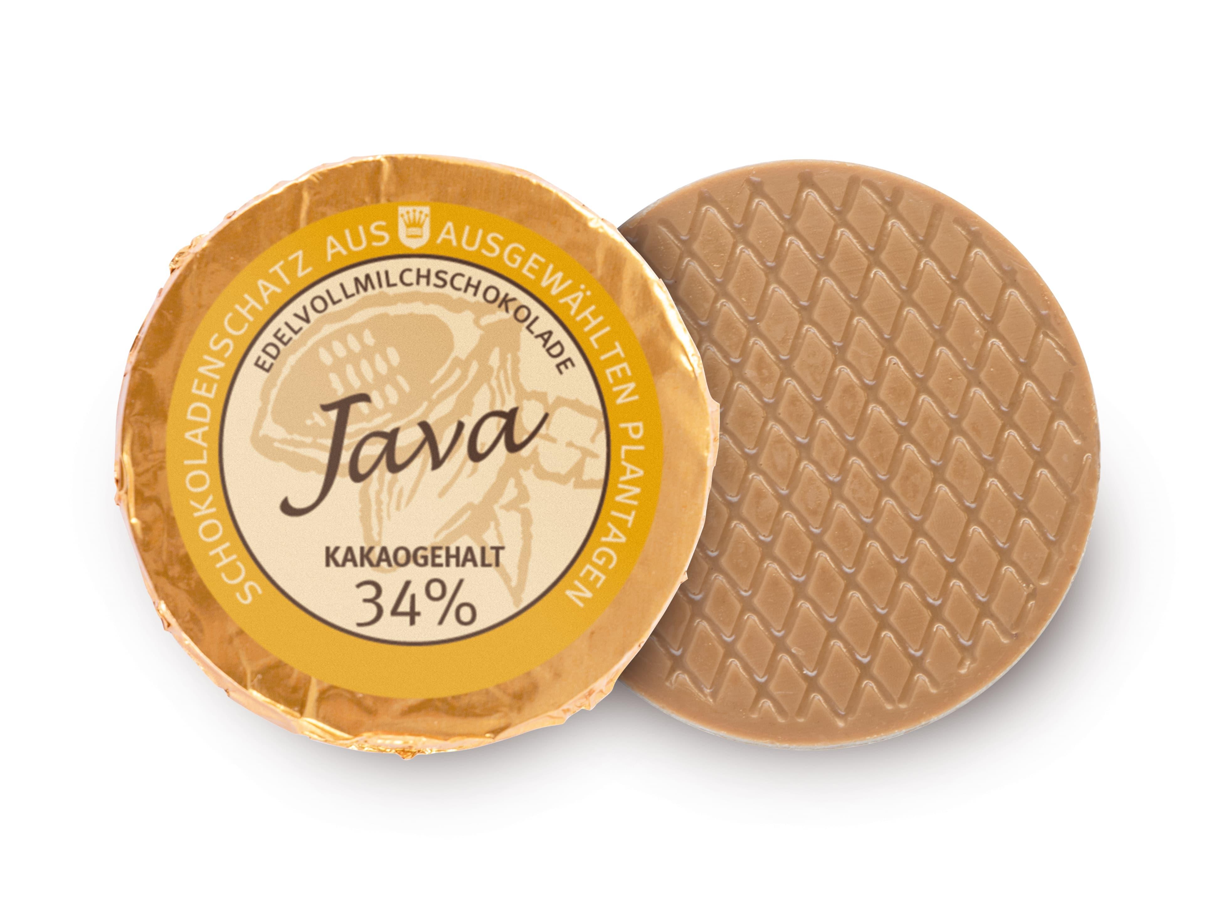 Golddublone aus Java-Schokolade mit 34 % Kakaogehalt