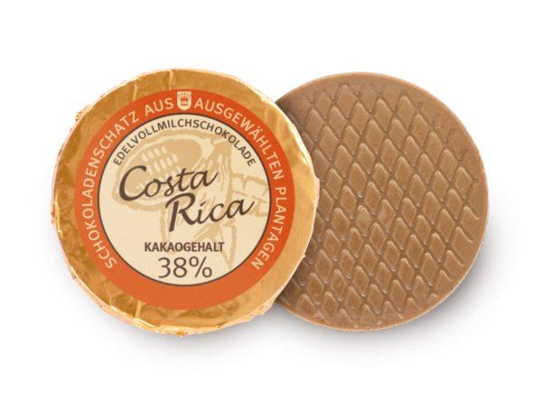 Golddublone aus Costa Rica-Schokolade mit 38 % Kakaogehalt