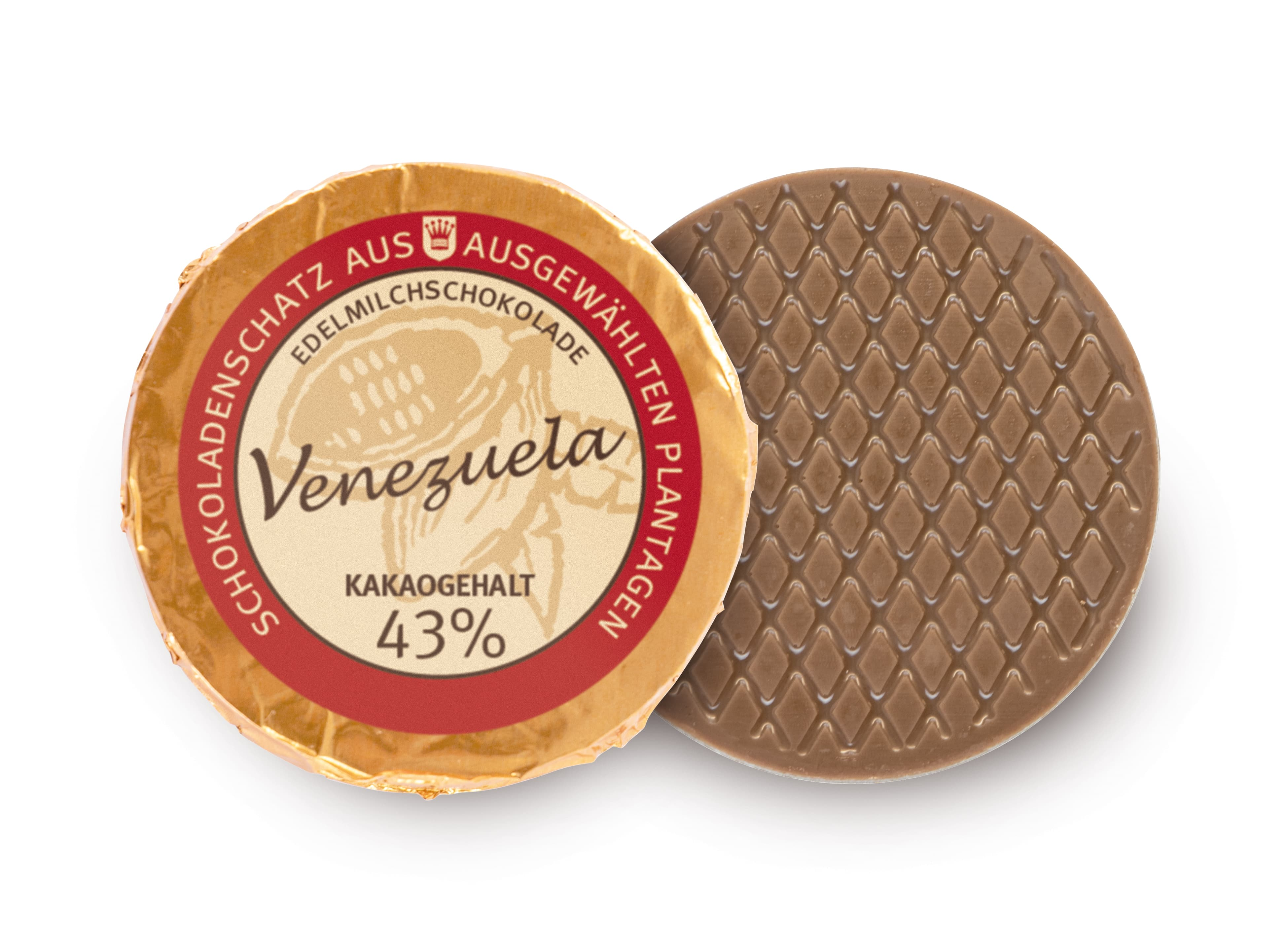 Golddublone aus Venezuela-Schokolade mit 43 % Kakaogehalt