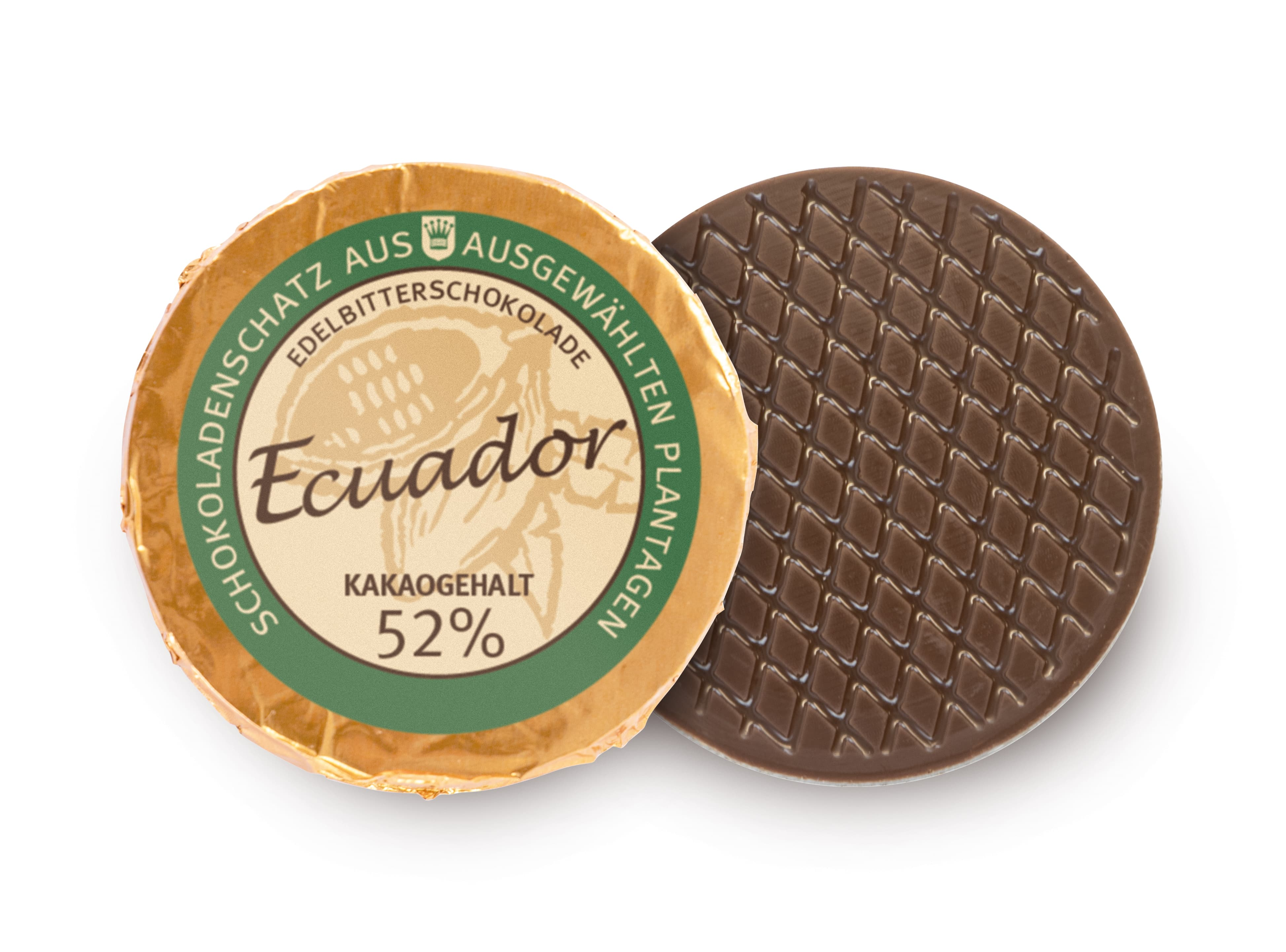Golddublone aus Ecuador-Schokolade mit 52 % Kakaogehalt