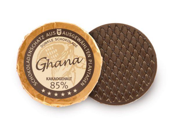 Golddublone aus Ghana-Schokolade mit 85 % Kakaogehalt