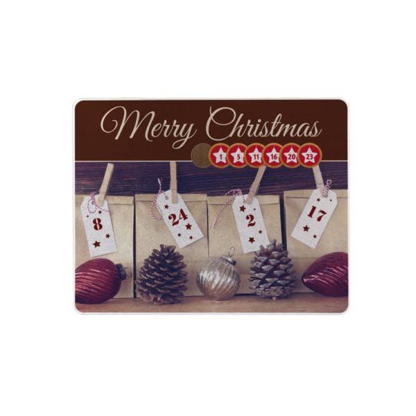 Adventkalender als moderne Silberdose mit weihnachtlichem Druck