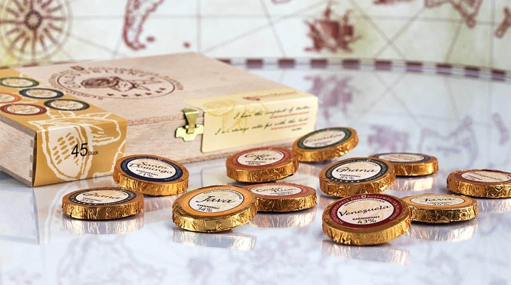 Schokoladentaler mit verschiedenen Kakaoanteilen