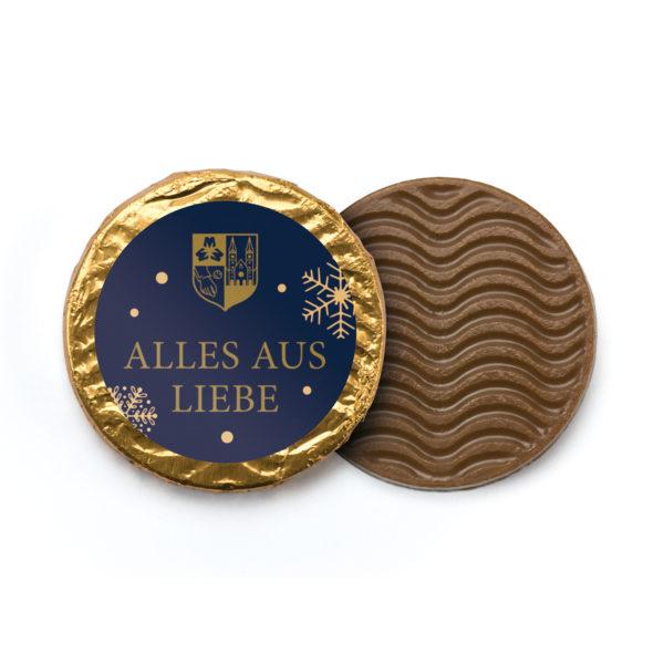 """Vollmilchtaler mit """"Alles aus Liebe""""-Motiv"""