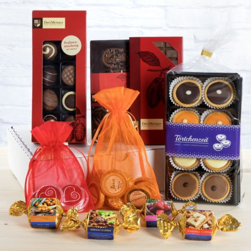 DreiMeister Probierpaket mit verschiedenen Schokoladen, Pralinen und Trüffeln, Happen und Torteletts