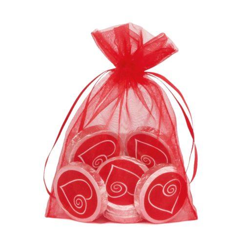 Feines Organzasäckchen befüllt mit 6 Herztalern aus feinster Vollmilchschokoalde.