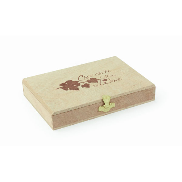 "Elegante Holzkiste mit Branding ""Chocolate for Wine"", 12 Dublonen"