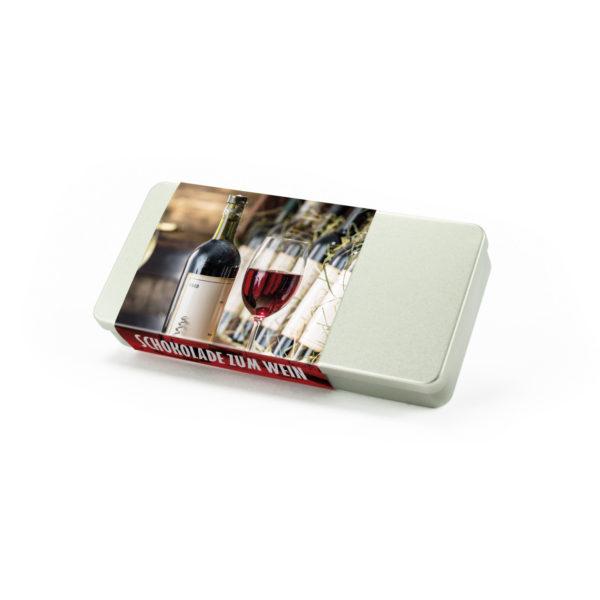 6er Silberdose Schokolade zum Wein