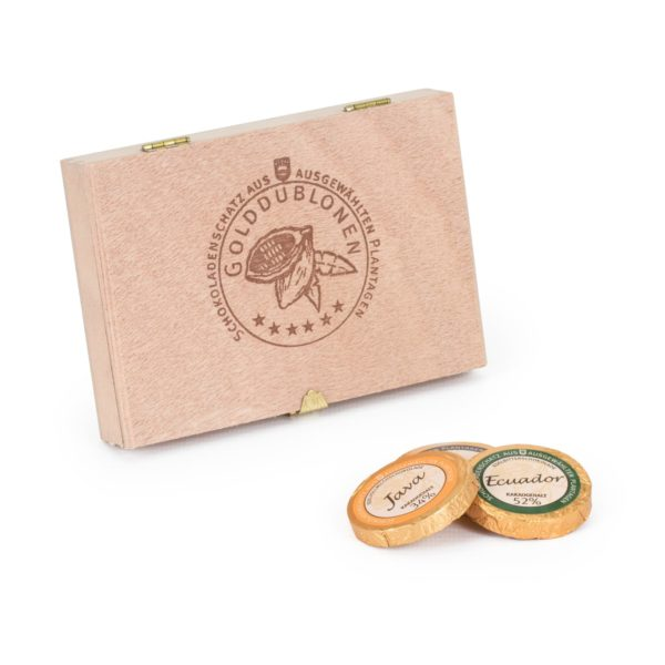 Holzkiste mit Branding, 12 Golddublonen