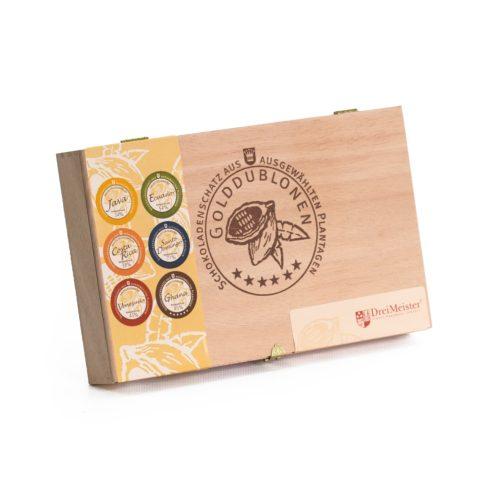 Holzkiste mit Branding, 45 Golddublonen