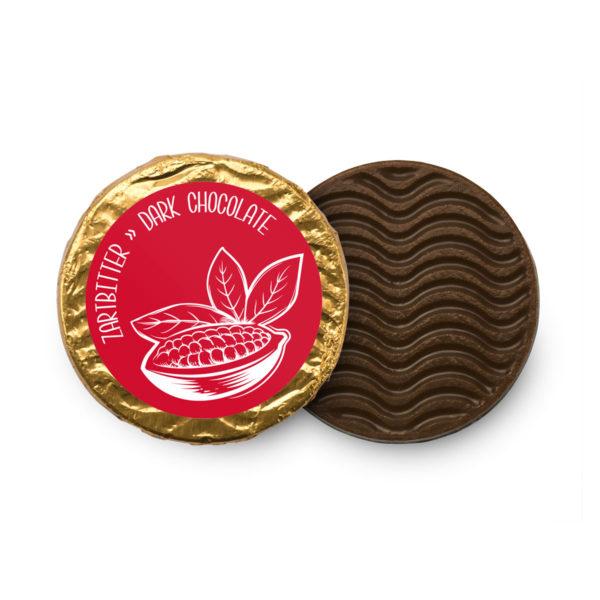 Volmilchtaler aus zartschmelzender Zartbitterschokolade