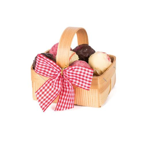 Erdbeer-Körbchen mit Textilschleife und 8 leckeren Erdbeer Trüffeln